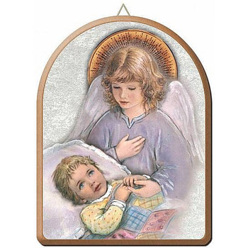 """Guardian Angel with Child Gold and Silver Stamping Arched Wall Plaque 6"""" x 8"""" Italy FEA152201AC"""
