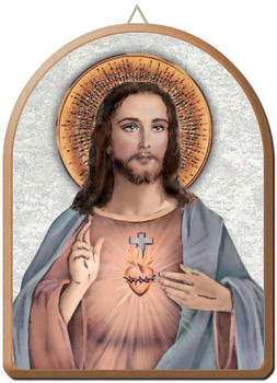 """Sacred Heart of Jesus Gold and Silver Stamping Arched Wall Plaque 6"""" x 8"""" Italy FEA152201CG"""