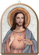 "Sacred Heart of Jesus Gold and Silver Stamping Arched Wall Plaque 6"" x 8"" Italy FEA152201CG"