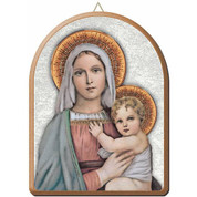 "Madonna and Child Gold and Silver Stamping Arched Wall Plaque 6"" x 8"" Italy FEA152201MB"
