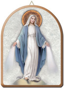 Wood Our lady of grace wall plaque with silver and gold accent measures 6 by 8 inches made in italy FEA152201Mi