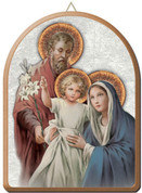 Holy Family wall plaque with silver and gold accent measures 6 by 8 inches made in italy FEA152201SF