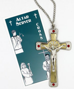 two tone crucifix with red glass accents measures 3 and 1 half inched for altar server comes on stainless steel chain DVS2415C