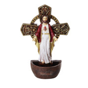 Sacred Heart of Jesus holy water font made of resin is 6 and 3 quarters by 4 and 1 half inches PT12050
