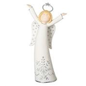 "Joyful Angel Statue   White   Silver Star Flower Accents   7-1/4""   Porcelain   130038"