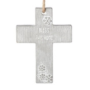 Blessing-wall-cross-with-sentiment-reading-bless-this-home-measures-4-inches-high-made-of-cement-RO13266