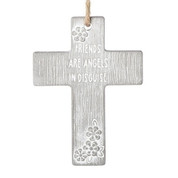 Friends are angels in disguise wall cross measures 4 inches high made of cement RO13267