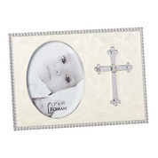 """Photo Frame with Silver Cross and Rhinestone Accents size 2"""" x 3"""" Photo RO13827"""