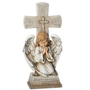 Memorial standing cross with kneeling angel inscribed with matthew 5 4 stands 14 and 1 half inches high made of resin RO65768