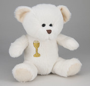 Communion Teddy Bear Embroidered Eucharist Symbol in White measures 7 inches HITB813