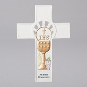 Wall Cross for My First Communion with Eucharist Symbols made from Porcelain RO29104