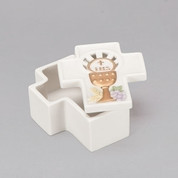 First Communion Cross Shaped Keepsake Box with Communion Chalice design on lid RO29105
