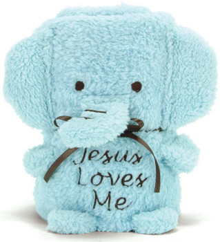 Baby Elephant Blankie in Blue with embroidered Jesus Loves Me BD41135