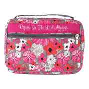 rejoice in the lord bible case with outer pocket made of floral print fabric measures 7 and 1 half inches by 10 and 1 half inches dibcc70113