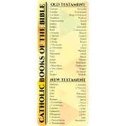 Catholic books of the bible bookmark old an new testament on paper measuring 2 and 5 inches by 6 and 3 eighths inches bkmbc22