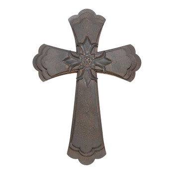 Flared wall cross with budded ends and fleur de lis center measures 16 inches high made of brushed metal DIMWC360