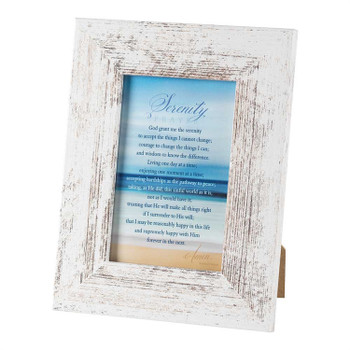 """Serenity Prayer in White Wooden Frame with a Photo Opening of 4"""" x 6"""" PF1704W462"""