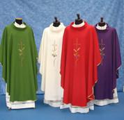 Gothic Chasuble | Wheat, Cross, Flowers | Solivari | 310