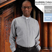 Toomey Oxford Clergy Shirt with Tab Collar and Long Sleeves with 60 percent Cotton and 40 percent polyester available in heather blue and grey