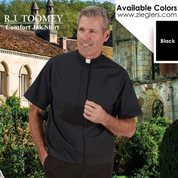 Clerical Comfort Jak No Tuck Clergy shirt with two breast pockets available only in black