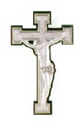 Crucifix with INRI in Sterling Silver on Wood