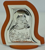 Christ in Sterling Silver on Orange Accent Plaque