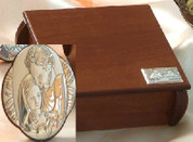 Holy Family Style 634 Sterling Silver Medallion in Wooden Box