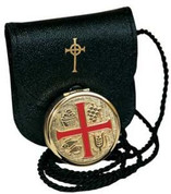 Red Enamel Cross Pyx and Burse Set Brass pyx With Gold Plate Finish Design Includes Bread Grapes Wheat and Fish burse is black leather Made In Italy KOK110