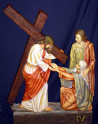Stations Of The Cross Set of 14 Stations made of Hand-Painted Polymer Resin with Roman Numerals each piece measures 24 by 36 inchesMade In South America 4 FA7185