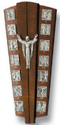 Stations Of The Cross Plaque 14 Stations With Risen Lord at Center made of Pewter On Walnut Roman Numerals Label the Stations measures 12 and 1 half inches Made In Italy LAL185