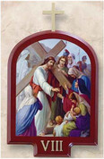 Stations Of The Cross Set of 15 Stations Lithographs On Wood with Roman Numeral Labels measures 8 by 5 and 1 half inches Made In Italy LAL933