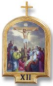 Stations Of The Cross Set of 14 Lithographs On Wood with Antique Gold Finish and Roman Numeral Labels measure 10 and 1 half by 7 and 1 half inches Made In Italy LAL93