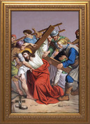 Set of 14 Stations of the cross are Framed Glicee On Canvas with Gilt Frames With Subtle Pattern measure 14 by 24 inches made in u s a NWC320F8