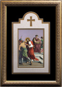 Stations Of The Cross Prints Set of 14 Stations Elegant Triple Matted Prints with Gold Frames print measures 8 inches by 12 inches finished piece measure Prints 16 by 24 inches Made In USA NWM320D27