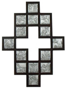 Stations Of The Cross Plaque Shows 14 Stations Metal Scenes in Wood FramE with cross cut out center measures 12 and 1 half by 17 and 1 half inches Made In Italy TANSC2201