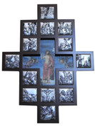 Stations Of The Cross Plaque Shows 14 Stations Metal Scenes in Wood FramE with image of Jesus in cross cut out center measures 12 and 1 half by 17 and 1 half inches Made In Italy TANSC2220