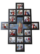 Stations Of The Cross Plaque Shows 14 Stations colored Metal Scenes in Wood Fram with image of Jesus in cross cut out center measures 12 and 1 half by 17 and 1 half inches Made In Italy TANSC2220G