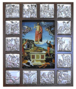 Stations Of The Cross Plaque Shows 14 Stations colored Metal Scenes in Wood Fram with image of Jesus in rectangular cut out center measures 12 and 1 half by 17 and 1 half inches Made In Italy TANSC2230