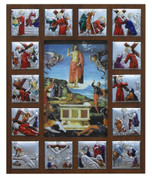 Stations Of The Cross Plaque Shows 14 Stations colored Metal Scenes in Wood Fram with image of Jesus in rectangular cut out center measures 12 and 1 half by 17 and 1 half inches Made In Italy TANSC2230G