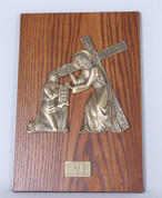 Stations Of The Cross Set of 15 Stations Romanesque Images Metal On Wood with Roman Numeral Labels Keyhole Slot measure 16 by 11 inches Made In USA ZZ1110