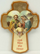 Holy Family Cross in heart on Hammered Gold Look Background Honey-Colored Beveled Border with blessing made of wood measures 8 and 1 half inches Wood Made In Italy LAL250IN