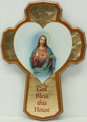 Sacred Heart of Jesus house blessing Cross Gold With Honey-Colored Border and  Beveled Edge From Italy measures 8 and 1 half inches LAL251IN