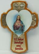 Sacred Heart of Jesus Cross Corazón sagrado de la cruz de Jesús reads El Señor Bendiga esta familia made of Wood With Beveled Edge and Honey-Colored Trim From Italy measures 8 and 1 half inches LAL251AP