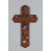 Last Supper Cross | Brown Wood Look | Cut-Out Style | Gethsemane | 12""