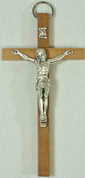 Wall Crucifix Wood Cross With Light Brown Finish and Pewter Corpus Imported From Italy measures 4 and 1 half inches TIE4000