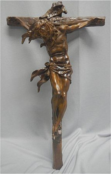 Windblown Christ Wall Crucifix Brown Carved Wood Look measures 20-1/4 inches EICPEG60