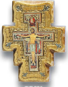 San Damiano Crucifix Honey Colored Elaborate Border measures five inches Imported From Italy LALPG001