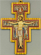 San Damiano Crucifix Vivid Colors Wood Border & Inner Red Border Made In Italy measures 6 and 1 half inches LALPG522