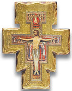 San Damiano Crucifix with Elaborate Gold Border Imported From Italy measures 8 and 1 half inches LALPG003
