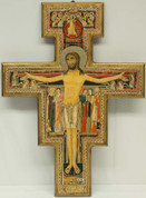 San Damiano Crucifix Reproduction Of Original Vivid Colors With Gold Border Imported From Italy measures 28 inches LALPG090